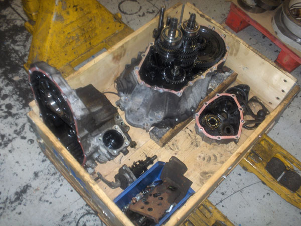 Parts of partially dismantled gearbox