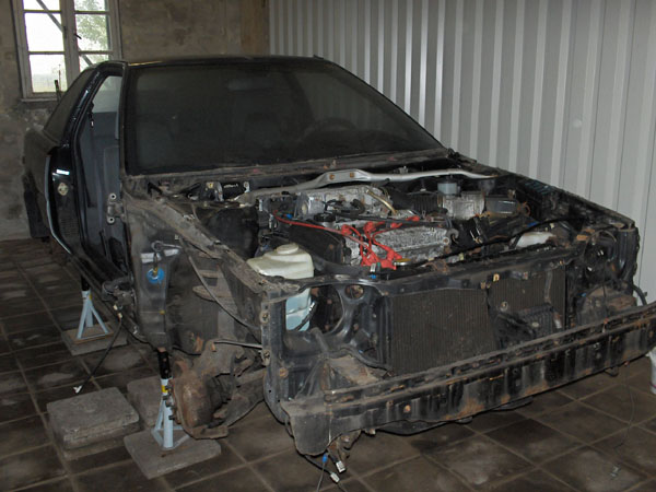 Car partially dismantled