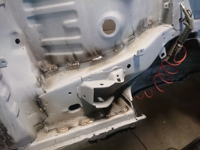 Stitch welds chassis