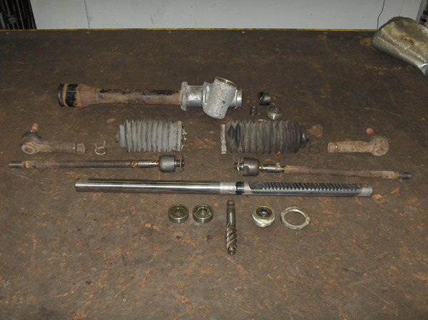 Steering rack in parts