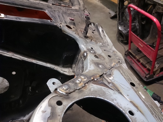 Panel welded to car